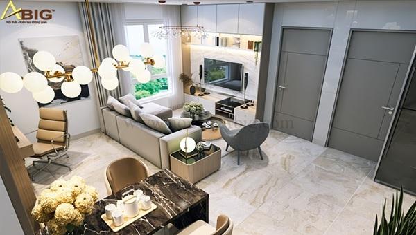 Trang trí thêm đèn chùm để tăng tính thẩm mỹ cho không gian căn hộ 3 phòng ngủ