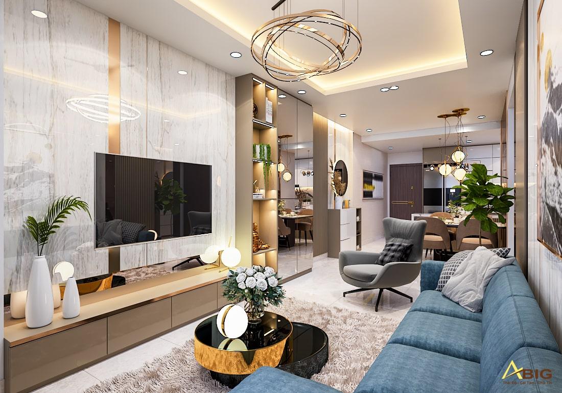 Công trình thiết kế nội thất nhà phố giá rẻ của công ty ABIG