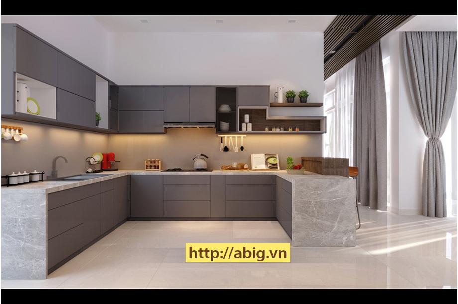 Nội thất nhà bếp cho nhà phố thiết kế theo phong cách đơn giản