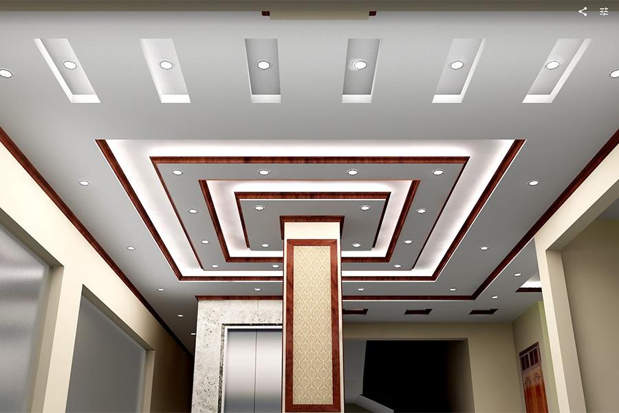 Mẫu trần thạch cao đẹp phòng khách kết hợp với hệ thống đèn chiếu sáng hiện đại.