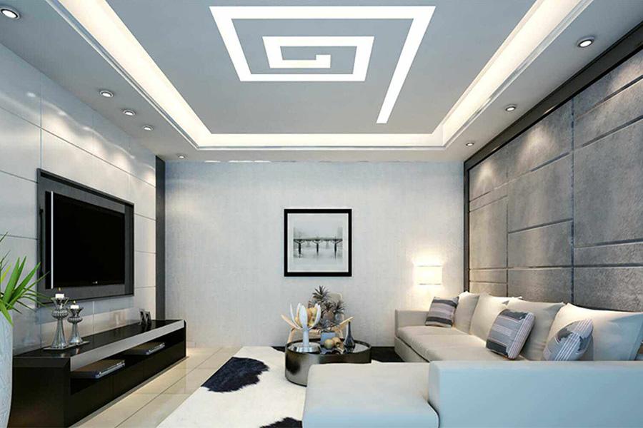 Trần thạch cao kết hợp với đường chỉ đèn và tạo hình xoắn ốc vuông độc đáo.