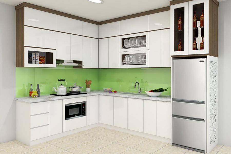 Tủ bếp chữ L được sử dụng rộng rãi trong hầu hết các gia đình hiện nay.