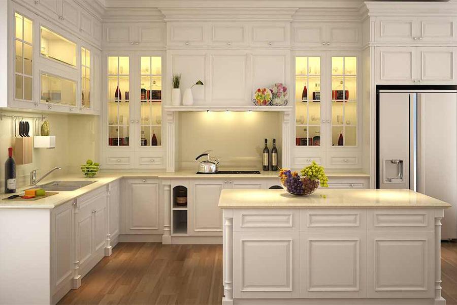 Toàn bộ gian bếp từ tủ bếp, đảo bếp đến sàn nhà cũng được làm từ gỗ sồi sang trọng.