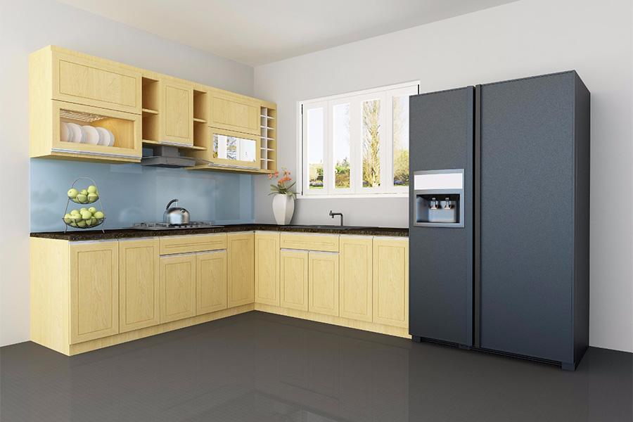 Một mẫu tủ bếp gỗ sồi chữ L với màu gỗ tự nhiên đem lại không gian bếp hiện đại, sang trọng và khá rộng rãi.