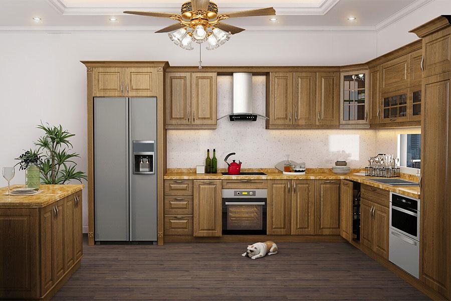 Một mẫu tủ bếp gỗ sồi đẹp mang phong cách đương đại, kết hợp gỗ sồi cùng tone màu cho toàn bộ đồ nội thất trong bếp.