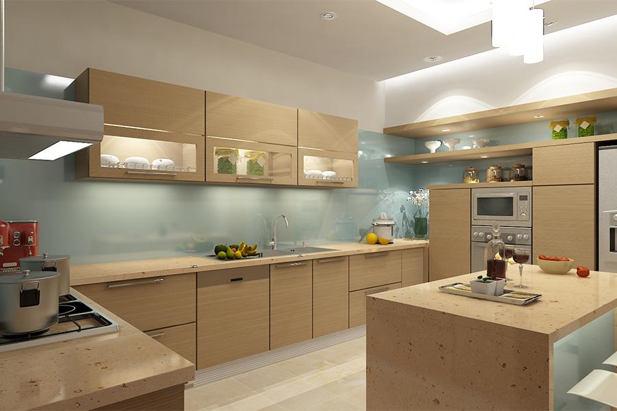 Thêm một mẫu tủ bếp gỗ sồi kết hợp với chất liệu kính ốp tường và mặt đá hoa cương cùng tone gỗ cho bạn tham khảo.
